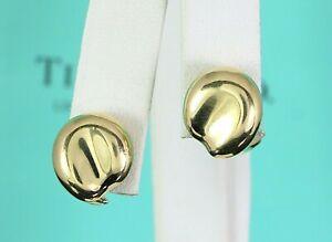 Tiffany & Co Elsa Peretti 18K Solid Yellow Gold Bean Clip On Huggie Earrings