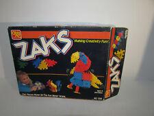 Vintage ZAKS Building Blocks Interlocking Hinged Toys in Box w Brochure Ohio Art