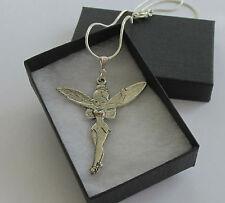 Large Metal Fairy Angel Tinkerbell Pendant - Chain Necklace - Handmade Jewellery