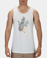 Hurley Mens T-Shirt White Size XL Tank Top Pineapple Dagger Printed Soft #393