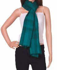 Stylish & Classy warm Kashmiri wool Scarf Stole Wrap check plaid peacock color