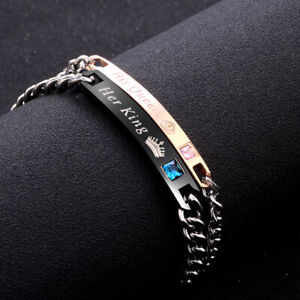 "His And Her ""Her King/His Queen"" Valentine Birthday Couple Lover Gift Bracelet"