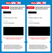 2 x Chessington Tickets **Summer Hols ** Sunday 23rd August