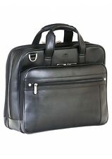 "NEW MANCINI LEATHER DUAL COMPARTMENT 15.6"" LAPTOP & TABLET BRIEFCASE BLACK"