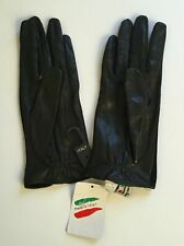 Nwt Guanto Sim Ladies Black Lambskin Leather Gloves Size 7 ½ Made In Italy