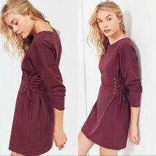 Silence + Noise Lace Up Corset T Shirt Dress Small Purple Red Long Sleeve XS
