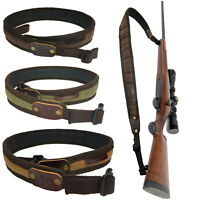 """Canvas with Leather Rifle Sling Rifle Gun + Swivels Adjustable from 37.4"""" to 41"""""""