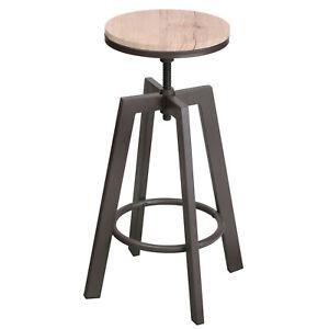 Industrial Round Bar Stool Metal Wood Swivel Wooden Top Chair Adjustable Height