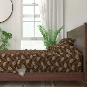 Sloth Chocolate Mammal Chevron Exotic 100% Cotton Sateen Sheet Set by Roostery