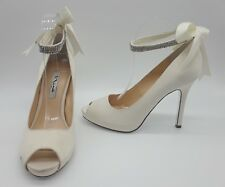 Nina Karen Women Shoes White Satin Ankle Strap Bow Heels Sz 9 M