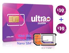 Vorinstallierte Ultra Mobile Mini + Micro + Nano (3in1) Sim Card + $19X2 Monat kostenloser Versand