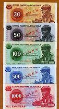 SPECIMEN SET Angola 20;50;100;500;1000 Kwanzas 1976 109s;110s;111s;112s;113s UNC