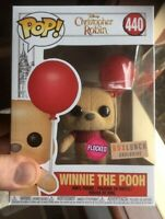 Rare Flocked Winnie The Pooh + Red Balloon 🎈 Funko Pop Vinyl NIMB +Sticker+P/P