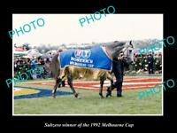 LARGE HISTORIC HORSE RACING PHOTO OF SUBZERO 1992 MELBOURNE CUP WINNER