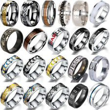 Mens Black Silver Stainless Titanium Steel Ring 8MM Wedding Engagement Band Ring