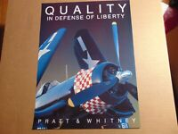 "POSTER Pratt & Whitney QUALITY IN DEFENSE OF LIBERTY WWII PLANE 20""x15"""