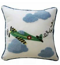 Waverly In the Clouds Blue Cloud Stripe Airplane Decorative Throw Pillow White