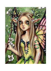 ORIGINAL  ACEO   FAIRY  FANTASY ART MINI PAINTING SIGNED