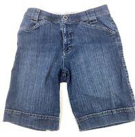 Womens Lee Blue Jean Shorts Size 8M Comfort Waistband Bermuda Stretch Denim