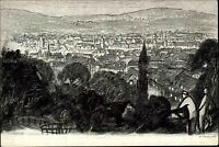 Stuttgart alte Künstlerkarte AK ~1930 Blick von den Weinbergen über die Stadt