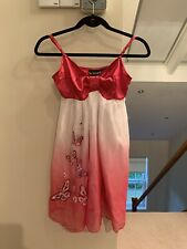 Ladies Womens Pink Satin Butterfly Sequined Dress Size UK 8