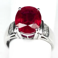 RUBY BLOOD RED OVAL 8.60 CT.SAPPHIRE 925 STERLING SILVER RING SZ 9.75 GIFT WOMEN