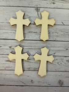 10 Natural Wooden Cross Religious Card Making Scrapbook Craft Embellishments
