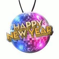 Happy New Year Disco Ball LED Charm On Lanyard