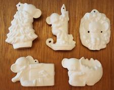 Alberta Xmas Mice #1 Ceramic Bisque Christmas Tree Ornament 5 Pc Set