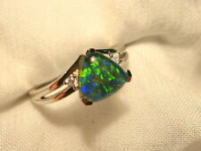 Opal Ring Ladies Sterling Silver 925 & CZ, 8x 8mm Trillion Triplet. item 070289.