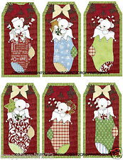 SET OF 12 CHRISTMAS STOCKING (127) SCRAPBOOK CARD EMBELLISHMENTS HANG GIFT TAGS