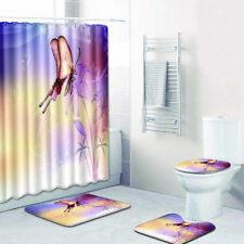🔥Butterfly Bathroom Rug Set Shower Curtain Bath Mat Non-Slip Toilet Lid Cover