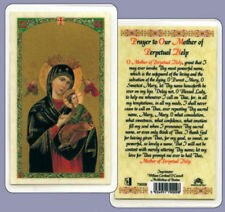 OUR MOTHER OF PERPETUAL HELP LAMINATED CARD - STATUES CANDLES PICTURES LISTED