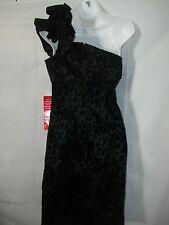 Ladies M Snap Leopard Satin Velvet Rockabilly Pencil 1 Shoulder Sexy Party Dress