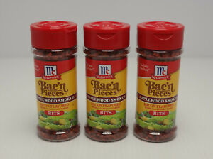 Lot Of 3 McCormick Bac'n Pieces Applewood Smoked Bacon Flavored Bits SHIPS FAST!