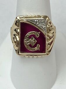 """10K RED STONE OLD ENGLISH INITIAL """"E"""" MEN'S GOTHIC STYL YELLOW GOLD RING SZ 9.25"""