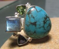 925 sterling silver turquoise/gemstones cocktail ring UK S to S½/US 9.25
