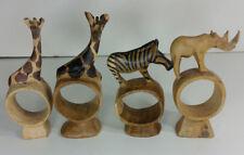 Lot of 4 Carved Wooden Animal Napkin Holders 2 Giraffes Rhino Zebra