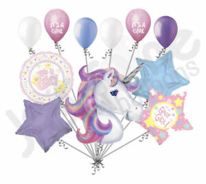 11 pc Pastel Unicorn Girl Baby Shower Balloon Bouquet Party Decoration Star Moon