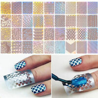 24pcs Sheets Nail Art Hollow Stencil Template Stickers DIY Manicure Tool Stamp u