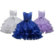 Wedding Flower Girl's Bridesmaid Ruffles Lace Royal Blue Cute Bow Dress Size 3