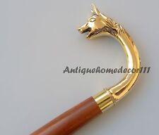 Golden Brass Wood Victorian Walking Stick Cane Brass Gift Vintage Antique Style