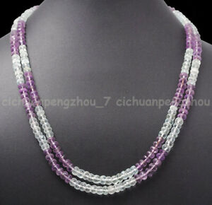 2 Rows 2x4mm Faceted Amethyst & Rose Quartz Rondelle Gems Beads Necklace 17-18''