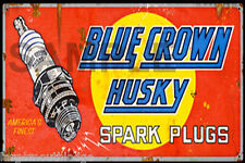 WEATHERED BLUE CROWN SPARK PLUGS BUILDING DIORAMA LAYOUT SIGN decal 3x2 DD3