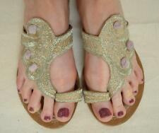 Antik Batik Tan Leather w/Silver Embroidery Sandals Size 7 Made in India