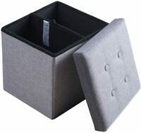 Sable Storage Ottoman Cube Folding Bench Linen Fabric Footrest Seat Stool