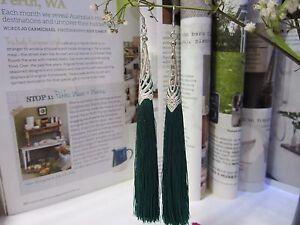 NEW - Tassel Long Earrings - Green