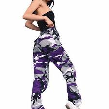 US Women Pants Fashion Sports Camo Cargo Pants Outdoor Casual Trousers Jeans JM