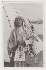 """CROW INDIAN CHIEF Real Photo """"Chief of Bird All Over the Ground"""" 1920s MONTANA"""