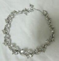 Vintage Silver Tone Sparkly Rhinestone Bogoff Bracelet With Safety Chain